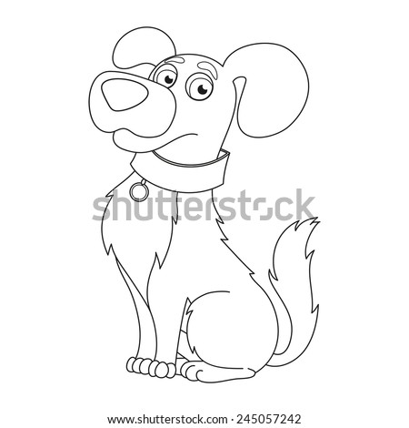 Cartoon puppy, vector illustration of cute dog wearing a collar with tag, coloring book page for children - stock vector