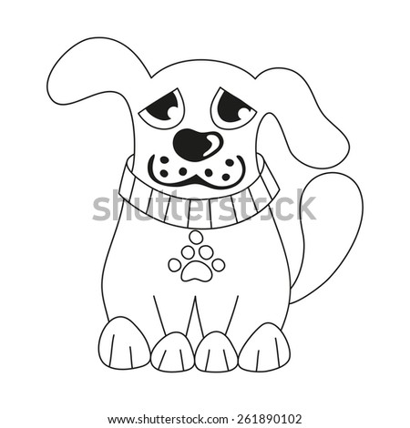 Cartoon puppy, vector illustration of cute dog wearing collar with pet paw tag, sad doggy, coloring book page for children - stock vector