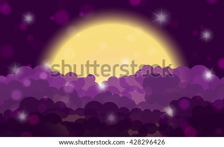 Cartoon purple night shining cloudy sky with moon. Vector illustration - stock vector