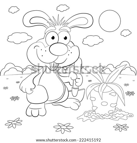 Cartoon rabbit-farmer with a shovel is going to dig carrots. Coloring book. - stock vector