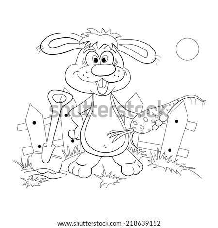 Cartoon rabbit-farmer with carrot in hand. Coloring book. - stock vector