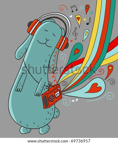 Cartoon rabbit with doodle elements - stock vector