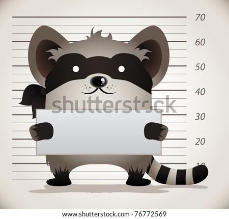 Cartoon Raccoon Mug Shot - stock vector