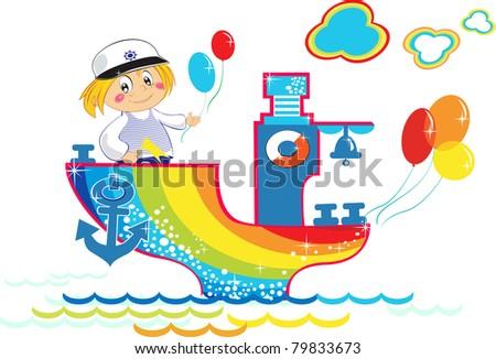 Cartoon rainbow ship with happy boy and balloons, vector. - stock vector