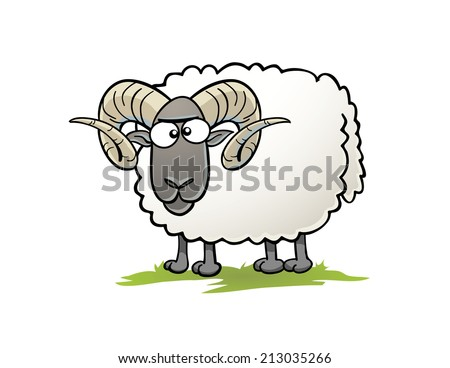 Cartoon Ram - stock vector