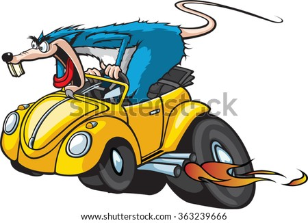 Cartoon Rat in a Hot Rod Car. Vector File. Hot Rod Rat. - stock vector