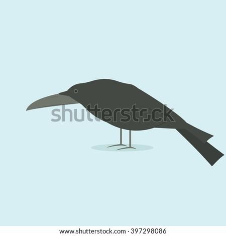 cartoon raven - stock vector