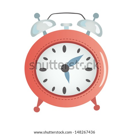 Cartoon red alarm clock. - stock vector