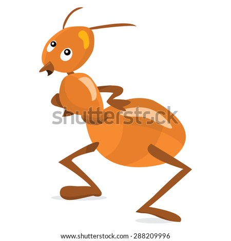 Cartoon red ant waiting vector illustration.