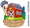 Cartoon red barn with fence - vector illustration. - stock vector