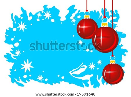 Cartoon red Christmas balls on a blue grunge background.
