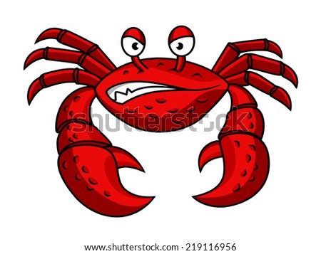 Cartoon red crab character with angry emotions  isolated on white - stock vector