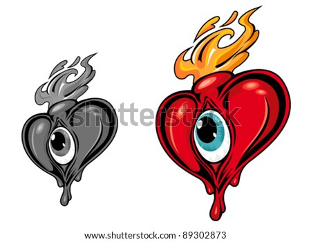 Cartoon red heart with eye in retro style. Jpeg version also available in gallery