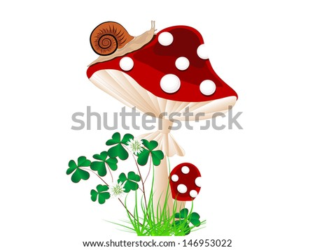 Cartoon red mushroom with snail and clover - stock vector