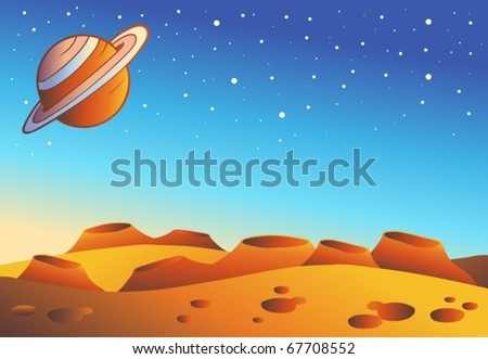 Cartoon red planet landscape - vector illustration. - stock vector