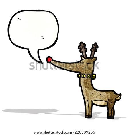 cartoon reindeer with speech bubble - stock vector