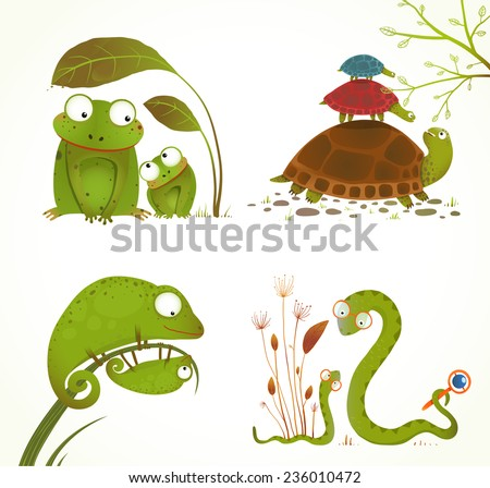 Cartoon Reptile Animals Parent with Baby Collection. Brightly colored childish frogs turtles snakes lizards. Vector illustration. - stock vector