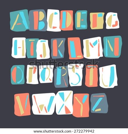 Cartoon Retro Alphabet - stock vector