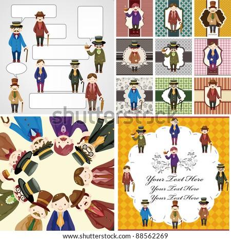 cartoon retro gentleman card collection - stock vector
