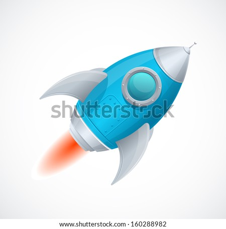 Cartoon retro iron spaceship isolated on white - stock vector