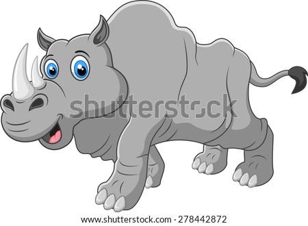 Cartoon rhino - stock vector