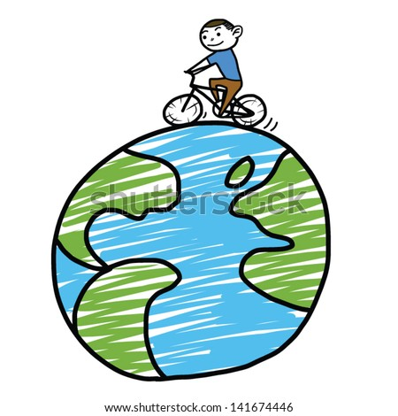 Cartoon ride bike around the world - stock vector
