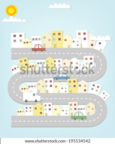 cartoon road map of the city with houses and cars - stock vector