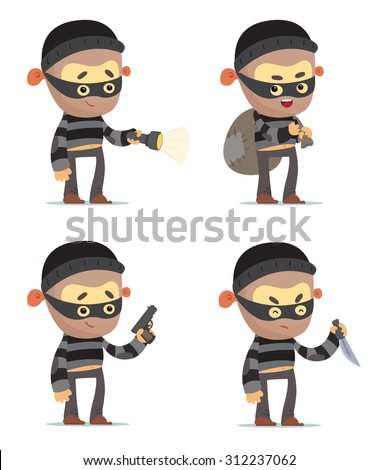 Cartoon Robbers - stock vector