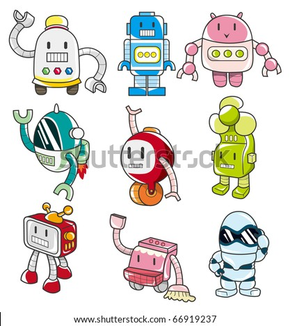 cartoon robot - stock vector