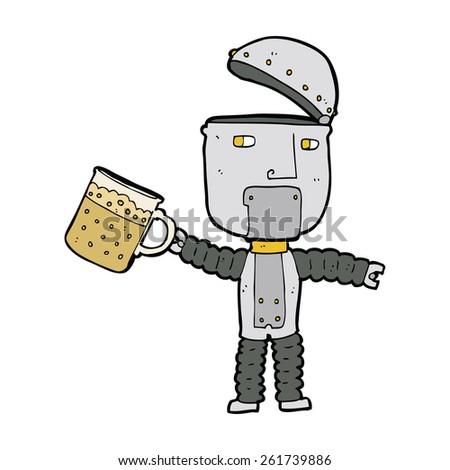 cartoon robot drinking beer - stock vector