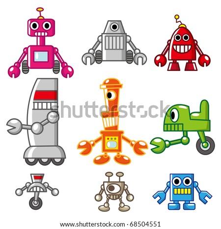 cartoon robot icon - stock vector