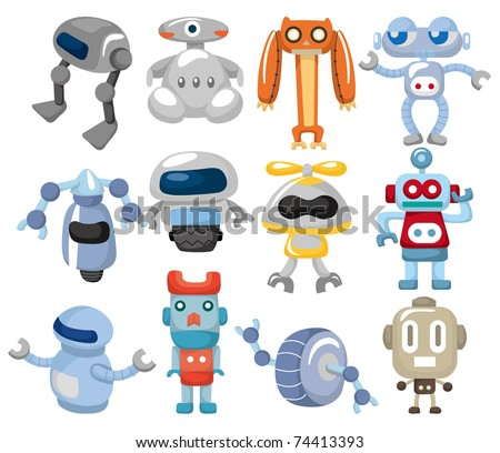 cartoon robot icon - stock vector