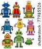 cartoon robot icon set - stock vector