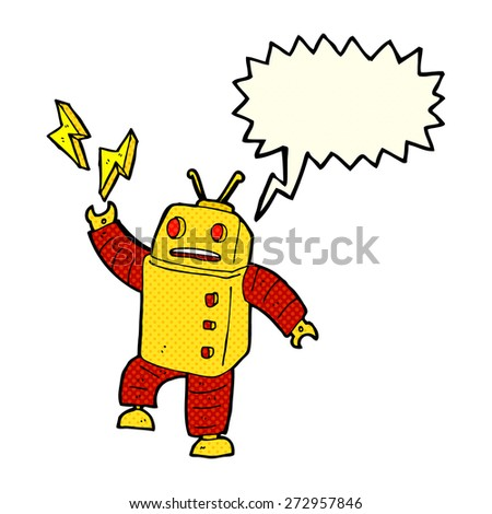 cartoon robot with speech bubble