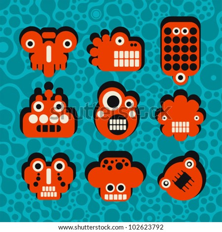 Cartoon robots and monsters faces in color on seamless pattern. Vector illustration set #4. - stock vector