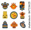 Cartoon robots and monsters faces in color. Vector illustration set #1. - stock vector