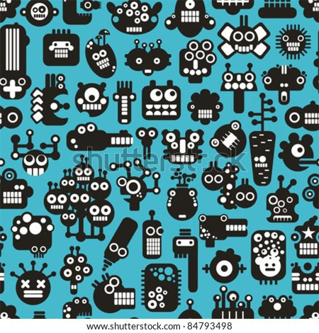 Cartoon robots faces seamless pattern on blue. Vector background. - stock vector