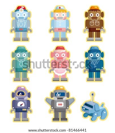 cartoon robots icons set