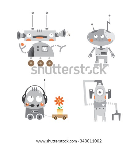 Cartoon robots set. Vector image. - stock vector