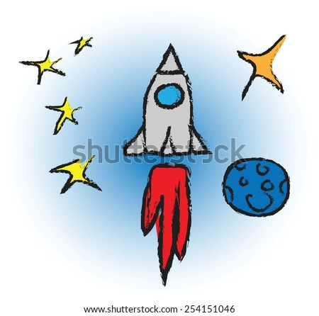 cartoon rocket spaceship with space background and planets and stars, vector design element