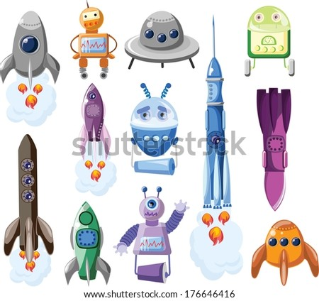 Cartoon rockets and robots, vector set - stock vector