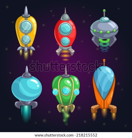 Cartoon rockets on the space background - stock vector