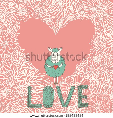 Cartoon romantic background. Funny sheep on heart made of flowers in vector - stock vector