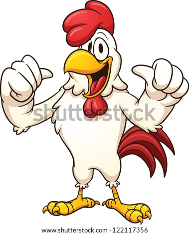 Cartoon rooster. Vector clip art illustration with simple gradients. All in a single layer. - stock vector