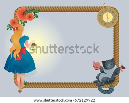 Cartoon Rope Frame Alice Wonderland Cheshire Stock Vector 672129922 ...