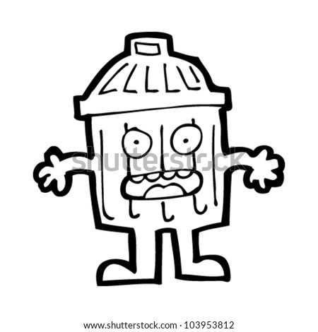 cartoon rubbish bin character