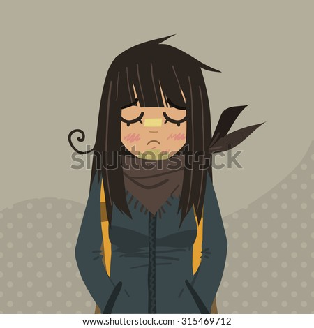 Cartoon sad girl mascot. The vector illustration for ui, web games, tablets, wallpapers, and patterns.