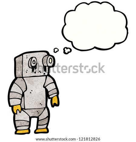 cartoon sad little robot