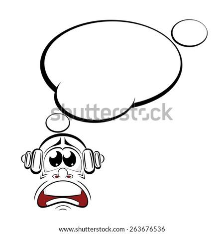 Cartoon sad with headphones. Music lover. Vector illustration. - stock vector