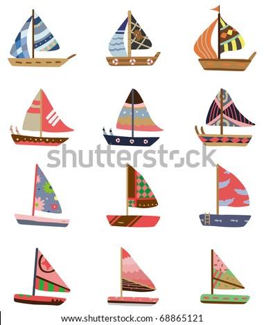 cartoon Sailboat icon - stock vector